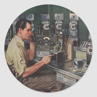 Vintage Business, Telephone Pay Phone Repairman Classic Round Sticker