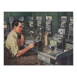 Vintage Business Telephone, Pay Phone Repairman Personalized Announcement Card