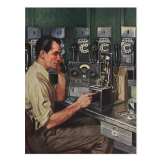 Vintage Business, Telephone Pay Phone Repairman Postcard