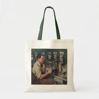 Vintage Business, Telephone Pay Phone Repairman Tote Bag