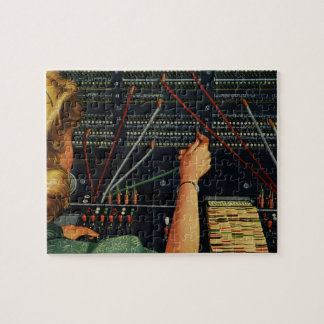 Vintage Business, Telephone Switchboard Operator Jigsaw Puzzle