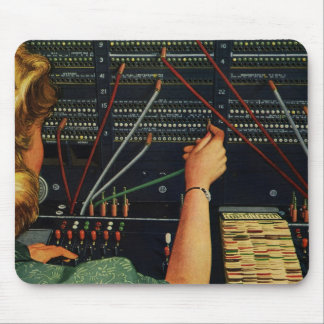 Vintage Business, Telephone Switchboard Operator Mouse Pad