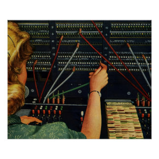 Vintage Business, Telephone Switchboard Operator Poster