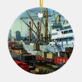 Vintage Business Transportation Docked Cargo Ship Ceramic Ornament