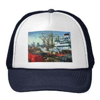 Vintage Business Transportation Docked Cargo Ship Trucker Hats
