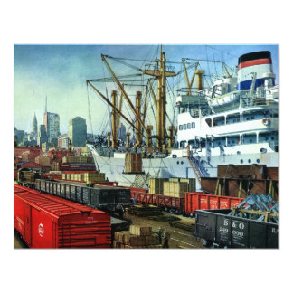 Vintage Business Transportation Docked Cargo Ship 4.25x5.5 Paper Invitation Card