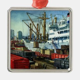 Vintage Business Transportation Docked Cargo Ship Metal Ornament