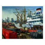 Vintage Business Transportation Docked Cargo Ship Poster