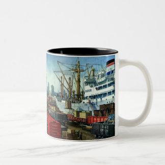 Vintage Business Transportation Docked Cargo Ship Two-Tone Coffee Mug