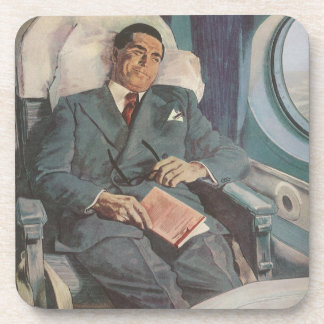 Vintage Business Traveler Reading on the Airplane Beverage Coasters