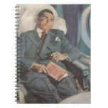 Vintage Business Traveler Reading on the Airplane Spiral Note Books