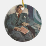 Vintage Business Traveler Reading on the Airplane Ornament