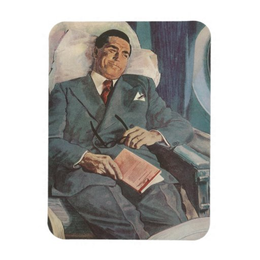 Vintage Business Traveler Reading on the Airplane Rectangular Photo Magnet