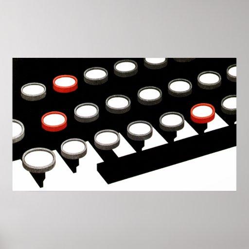Vintage Business, Typewriter Keyboard w Round Keys Poster