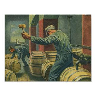 Vintage Business, Wine Making Corking Wine Barrels Card