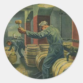 Vintage Business, Wine Making Corking Wine Barrels Classic Round Sticker