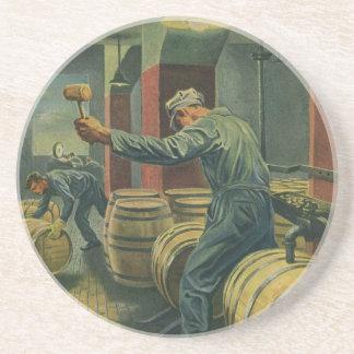 Vintage Business, Wine Making Corking Wine Barrels Coaster