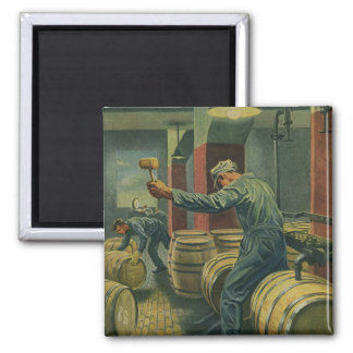 Vintage Business, Wine Making Corking Wine Barrels Magnet