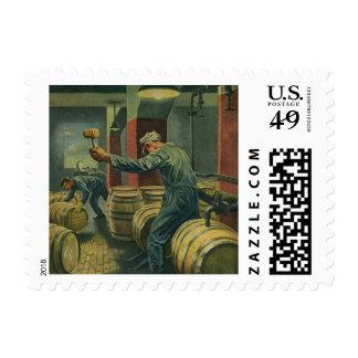 Vintage Business, Wine Making Corking Wine Barrels Postage Stamps