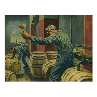Vintage Business, Wine Making Corking Wine Barrels Postcard