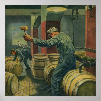 Vintage Business, Wine Making Corking Wine Barrels Poster