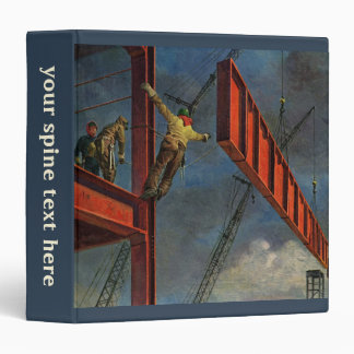 Vintage Business, Workers on Steel Construction 3 Ring Binder