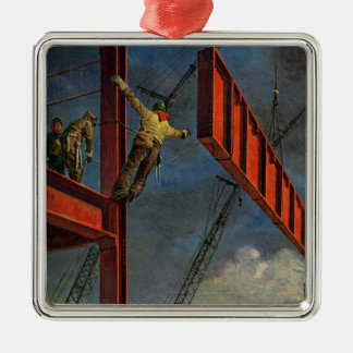 Vintage Business, Workers on Steel Construction Metal Ornament