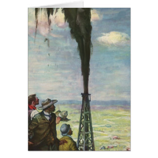Vintage Business, Workers with Gushing Oil Well Greeting Card