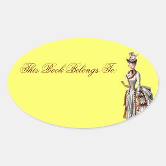 Vintage Bustled Woman Oval Sticker