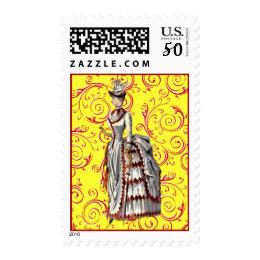 Vintage Bustled Woman Postage