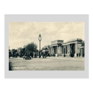 Vintage busy Hyde park corner traffic London Postcard