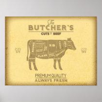 Vintage Butcher Shop Cuts of Beef Cow Diagram Poster