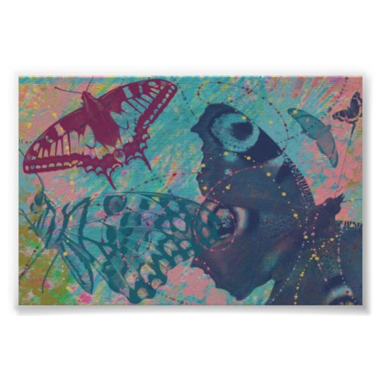Vintage Butterflies and Flowers Poster