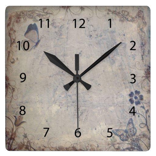 Vintage Butterflies Square Wall Clocks
