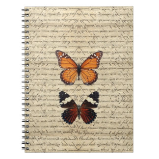 Vintage butterflies collection spiral note book