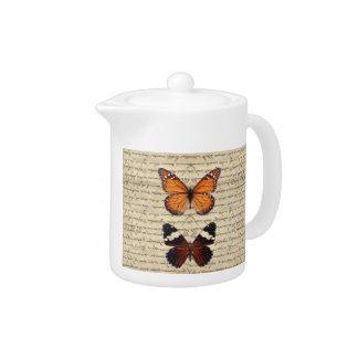Vintage butterflies collection teapot