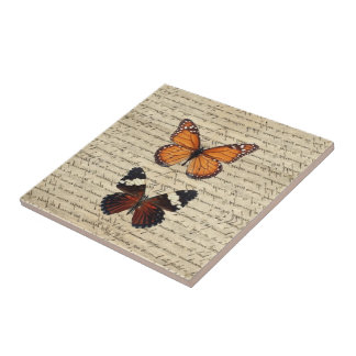 Vintage butterflies collection tile