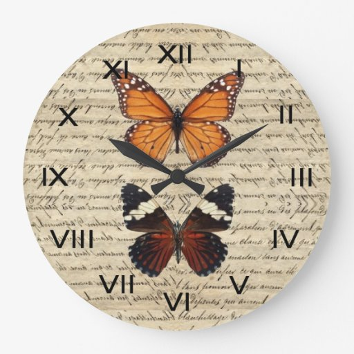 Vintage butterflies collection wallclocks zazzle - Relojes de pared retro ...