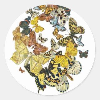 Vintage Butterflies Decoupage Classic Round Sticker