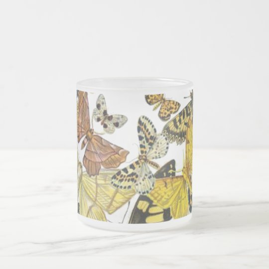 Vintage Butterflies Decoupage Frosted Glass Coffee Mug