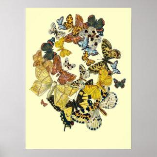 Vintage Butterflies Decoupage Poster