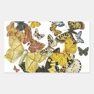 Vintage Butterflies Decoupage Rectangular Sticker