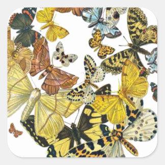 Vintage Butterflies Decoupage Square Sticker
