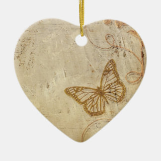 Vintage Butterflies Double-Sided Heart Ceramic Christmas Ornament