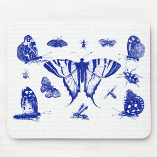 Vintage Butterflies in Blue Mouse Pad