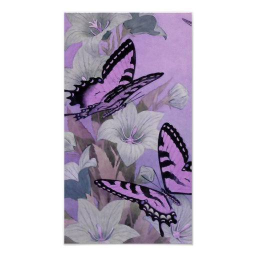 VINTAGE BUTTERFLIES PAINTING: LOVELY LILAC POSTER