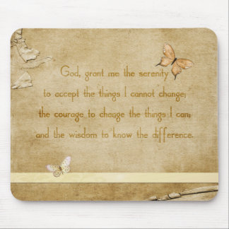 Vintage Butterflies Serenity Prayer Mouse Pads