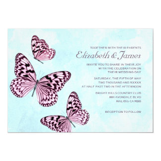 "Vintage Butterflies Wedding Invitations 5"" X 7"" Invitation Card"