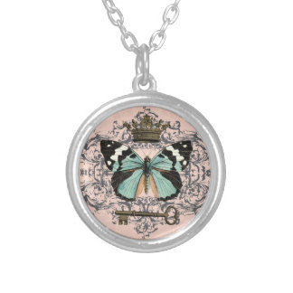 Vintage Butterfly and Crown charm necklace
