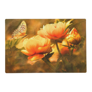 Vintage Butterfly And Flowers Placemat
